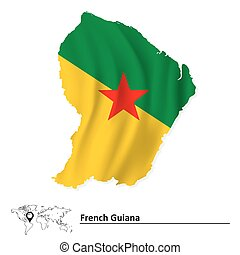 Map of French Guiana with flag