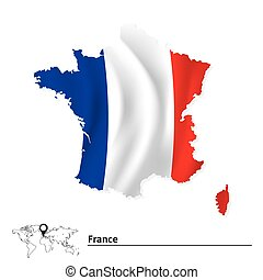 Map of France with flag - vector illustration