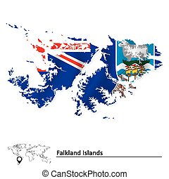 Map of Falkland Islands with flag