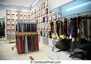 scarfs, shirts and neckties in shop