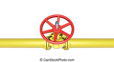 Yellow industrial valves and pipe
