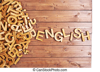Word english made with wooden letters - Word english made...