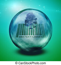 Barcode tree enclosed in glass