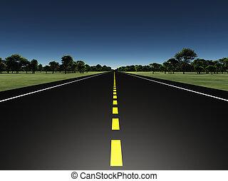 Road in green landscape