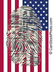 US Dollars Finger Impression and American Flag