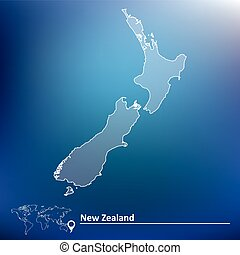 Map of New Zealand - vector illustration