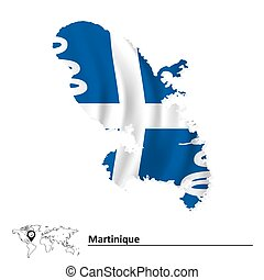 Map of Martinique with flag - vector illustration