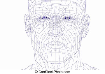 wire frame cyber man face