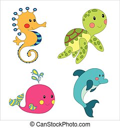 Set of cartoon sea creatures isolated on white. Vector...