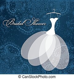 204 - Beautiful invitation card with wedding dress on...
