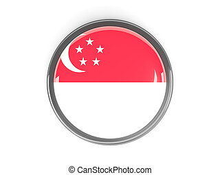 Round button with flag of singapore - Metal framed round...