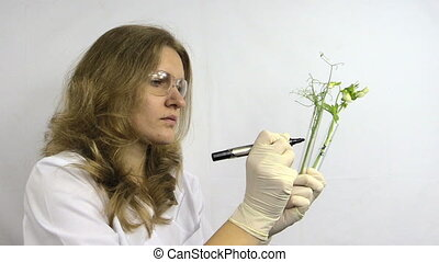 woman write pea flask - biologist with transparent glasses...