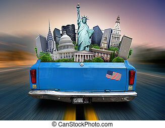 USA, attractions USA in the trunk of a moving car