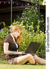 young women with laptop
