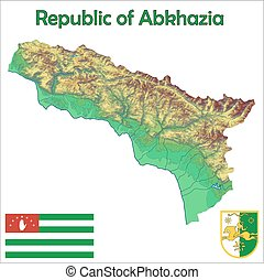 Abkhazia map flag coat aerial view