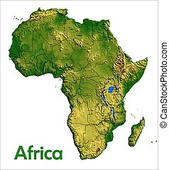 Africa continent map aerial view