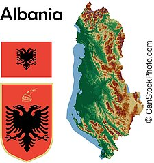 Albania map flag coat aerial view