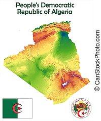 Algeria map flag coat aerial view