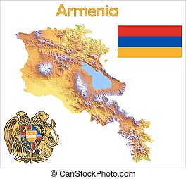 Armenia map flag coat aerial view
