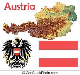 Austria map flag coat aerial view