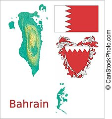 Bahrain map flag coat aerial view