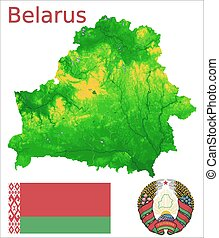 Belarus map flag coat aerial view