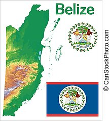 Belize map flag coat aerial view