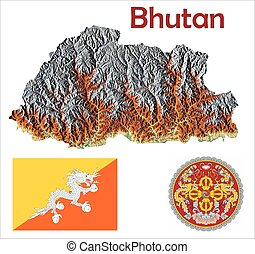 Bhutan map flag coat aerial view