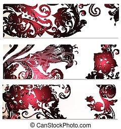 Floral backgrounds set with ornamen - Set of floral...