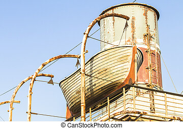 Ship Old Wooden Boat - Old ship deck wooden rescue boat...