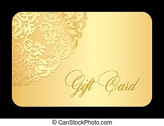 Luxury golden gift card with rounded lace - Exclusive golden...