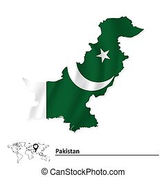 Map of Pakistan with flag - vector illustration