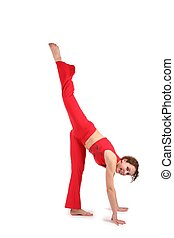 sport young woman make gymnastic isolated on white