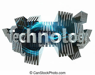 Technology concept 3d metal sign