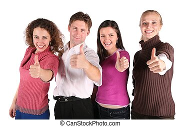 group of friends make gestures isolated on white