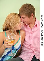 couple with glass