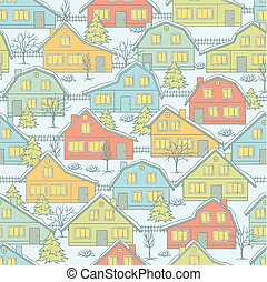 Christmas pattern with houses and trees in winter