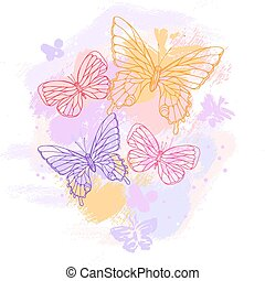 Colorful grunge background with butterfly. Vector...