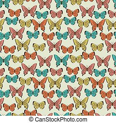 Butterflies. Beautiful background with a flower ornament