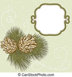Christmas hand drawn fur tree for xmas design With cones