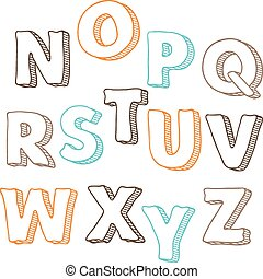 Cute hand drawn font. Vector letters set N-Z.