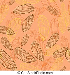 Pattern of autumn macro leaf Vector seamless background