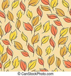 Pattern of autumn macro leaf. Vector seamless background.