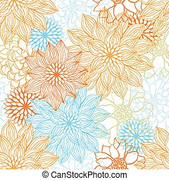 Vector background with hand drawn flowers. (Seamless...