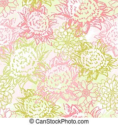 Vector background with hand drawn flowers Seamless Pattern...