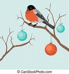 Bird on tree in Christmas. A vector illustration.