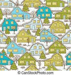 Seamless Christmas pattern with houses and trees in winter
