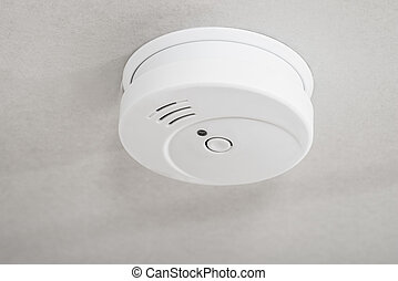 White Smoke Detector - Close-up Of White Smoke Detector On A...