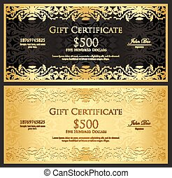 Luxury golden and silver gift certificate in modern style -...