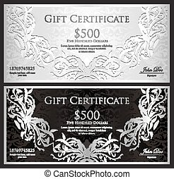 Luxury silver gift certificate in vintage style - Exclusive...